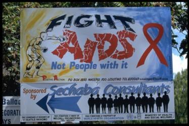 Kampanj mot aids i Lesotho. UN/Photo G Pirozzi