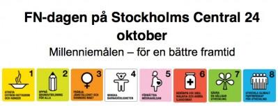 Onsdagen den 24 oktober uppmärksammar FN-familjen i Stockholm FN-dagen och millenniemålen på Stockholms Central.