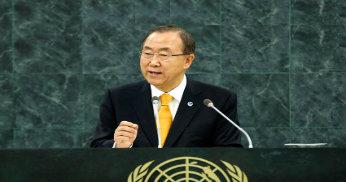 FN:s generalsekreterare Ban Ki-moon presenterar sin årliga rapport om FN:s arbete.