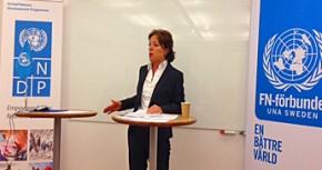 Yasmine Sherif, UNDP. Foto: UNDP, Malin von Strauss. Seminar on the crisis in Syria.